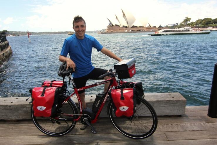 Maximilian Semsch, with his e-bike on Sydney