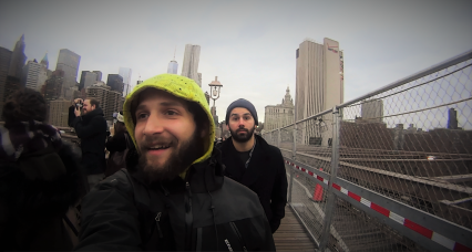 With my cousin Panos at Brooklyn Bridge