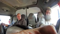 This is George and myself in the minivan that took us from Cusco to Machu Picchu area. I will just say that it was the day after my... birthday!